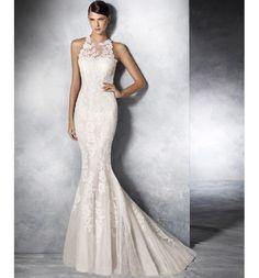 Jensen, Vestido de novia White One de encaje con cuello