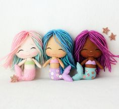 Chibi Mermaid and Angel pdf Patterns от Gingermelon на Etsy Felt Patterns, Pdf Patterns, Chibi, Craft Projects, Sewing Projects, Felt Projects, Mermaid Dolls, Creation Couture, Felt Toys