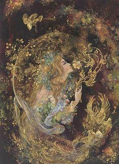 """Night's Engulfing Magic"" Persian Miniature by M. Farshchian"