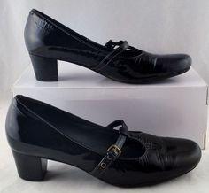 ECCO Women's Black Patent Leather Mary Jane Heels 38 7.5 Used #Ecco #MaryJanes #WeartoWork