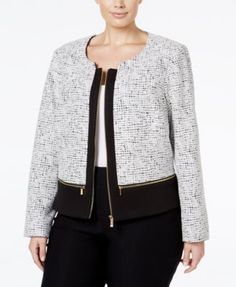 Calvin Klein Plus Size Multi-Zip Basketweave Jacket   macys.com