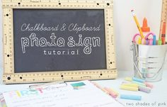 Clipboard and chalkboard photo sign in one.  Plus a first and last day of school interview printable for kids.