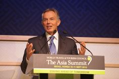 The Rt Hon Tony Blair, former Prime Minister of the UK addresses the World Travel & Tourism Council Asia Summit