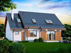 Wizualizacja DN KENDRA XS CE Solar Panels, Shed, Outdoor Structures, Mansions, House Styles, Outdoor Decor, Home Decor, Houses, Sun Panels