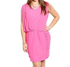 Plus+Size+Slit+Sleeve+Ruched+Cocktail+Dress