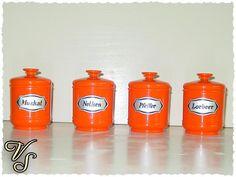 4 Emsa Dosen - Dosenset - 70er - orange - Vintage. Von vintageschippie bei DaWanda.