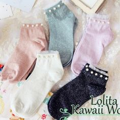 5 colors kawaii pearl short socks lk16031402