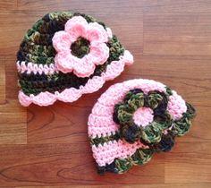 Crocheted Baby Girl Camo & Pink Hat Set Twin by KaraAndMollysKids