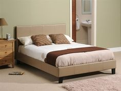 Snuggle Beds Nadia Taupe (LIMITED STOCKS) 3' Single Slatted Bedstead Leather Bed