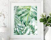 Banana leaf wall art, Banana leaf decor, Palm leaf art print, Palm leaf prints, Palm leaf wall decor, Tropical leaf prints, Monstera leafs