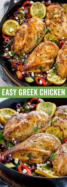 Greek chicken is a Meditteranean feast loaded with savory flavor. Roasted chicken breast is cooked in one pan with zucchini, bell peppers, red potatoes and tomatoes, then topped with feta cheese and olives for a hearty and healthy meal. via Jessica Gavin Greek Chicken Breast, Roasted Chicken Breast, Greek Roasted Chicken, Baked Chicken, Greek Chicken And Potatoes, Roast Chicken Breast And Potatoes, Meditteranean Recipes, Cooking Recipes, Healthy Recipes