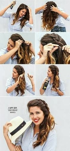 [ Quick And Easy Hairstyles For School : Best Summer Hairstyles - Side Braid Waves - Easy And Beautiful Short Hairstyles And Easy Summer Hairstyles That Easy Summer Hairstyles, Braided Hairstyles, Cool Hairstyles, Updo Hairstyle, Romantic Hairstyles, Wedding Hairstyles, Wedding Updo, Hairdos, Date Night Hairstyles