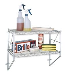 Metro Wire Wall Shelving...perfect for above the sink or washer machine storage! #wireshelving #wallshelving #overheadshelving