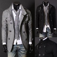 Double Breasted Men Fashion PEA Wool Coat | Sneak Outfitters