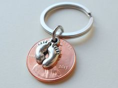 Baby Feet Charm Layered Over 2013 Penny Keychain; Mother's Keychain, Father's Keychain
