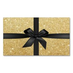 Modern Black Ribbon Wrapped Gold Glitter Double-Sided Standard Business Cards (Pack Of 100)