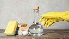 Ocet volte raději bezbarvý Vinegar Uses, Vinegar And Water, White Vinegar, Natural Floor Cleaners, Homemade Oven Cleaner, Antibacterial Essential Oils, Vinegar Cleaner, Limpieza Natural, Organic Acid