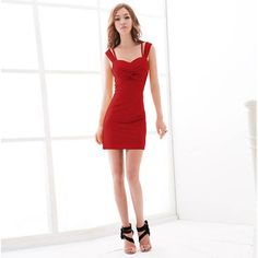 Sexy Special Strap Cross Ruffles Embellished Solid Color Milk Silk Dress For Women