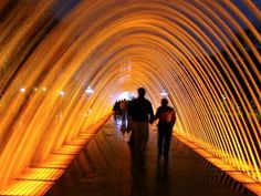 A nice romantic walkway in the Lighted Water Fountain Tunnel in Lima, Peru