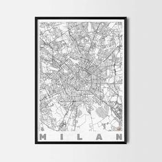 Milan art prints -Art posters and prints of your favorite city. Unique design of a map. Perfect for your house and office or as a gift.