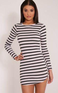 Peetra Pink Long Sleeve Curved Hem Stripe Dress