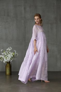 Maxi linen dress in lilac aqua and yellow maxi wedding Maxi Dress Wedding, Bridal Dresses, Yellow Maxi, Lilac Dress, Fashion Updates, Linen Dresses, Elegant, Everyday Outfits, Designer