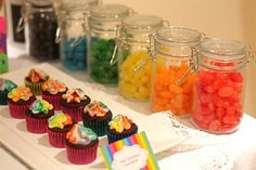 A Rainbow Themed Birthday Party Dessert Table