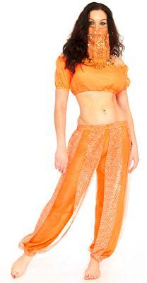 GLITTER GENIE HAREM COSTUME W/ COINS (NEON ORANGE) - Item #4793 on www.bellydance.com