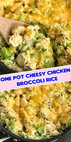 One pot cheesy chicken broccoli rice is a quick & easy skillet dinner that is also gluten-free! Only a few simple ingredients and you have a delicious, cheesy, family-friendly skillet dinner. Chicken Broccoli Rice, Buffalo Chicken Pasta, Cheesy Chicken, Health Recipes, Low Carb Recipes, Cooking Recipes, Chicken Ideas, Chicken Recipes, Amaretto Cheesecake