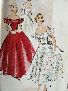 1950s EVENING DRESS BALL GOWN PATTERN PORTRAIT NECKLINE,OFF SHOULDERSFULL SKIRTED McCALLS 8727