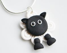 Miniature Sheep Necklace, Fimo, Polymer Clay, Animal, Cute, Jewellery, Child