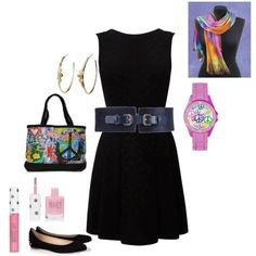 Fun rainbow hues in this #lbd #outfit