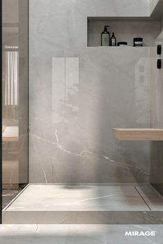 Das U… The suites allow us to interpret the Mirage products in a totally new way. The use of large slabs lets your Creativity run wild for shower cubicles, vanity tops, st Big Bathrooms, Modern Bathroom, Small Bathroom, Bathroom Ideas, Bathroom Design Inspiration, Bathroom Interior Design, Marble Showers, Shower Cubicles, Shower Panels