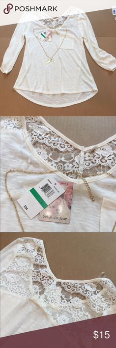 """Belle De Jour $32 Retail Top with Bonus Necklace Off white/cream colored top with Lace back and bonus """"Believe"""" necklace. New with $32 tag. Soft, stretchy material. See pics for measurements. Belle Du Jour Tops"""