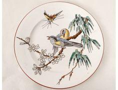 Assiette à dessert Bordeaux Vieillard Grands Oiseaux Millet papillon XIXème