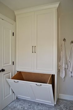 Trendy Bathroom Storage Bins Hidden Laundry Ideas You are in the right place about yellow Bed Room Here we offer you the most beautiful Bathroom Linen Closet, Laundry In Bathroom, Small Bathroom, Master Bathroom, Bathroom Built Ins, Cape Cod Bathroom, Laundry Shoot, Bathroom Linen Cabinet, Hamper Cabinet