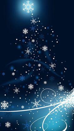 Blue  White Snowflake Swirl.  iPhone Wallpaper.