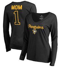 Pittsburgh Penguins Fanatics Branded Women's Number 1 Mom Long Sleeve T-Shirt - Black