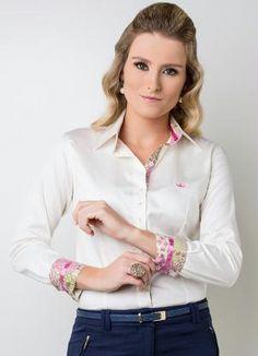 Camisa Feminina Manga Longa Pérola Principessa - Principessa Camisaria