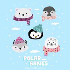 Bebés polares lindos Vector Gratis