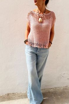 Light pink sweater for women cotton pink pullover women sweater in blush beach cover up loose knit sweater top tank - Beach Blush Cotton Cover knit light Loose Pink Pullover sweater tank Top Women Loose Knit Sweaters, Summer Sweaters, Hand Knitted Sweaters, Sweaters For Women, Women's Sweaters, Knitting Sweaters, Pull Rose, Pink Suit, Pink Sweater
