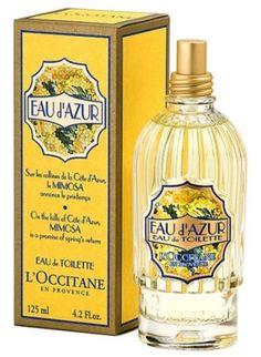 Eau d'Azur L'Occitane en Provence Mimosa eau de toilette. a discontinued but fondly imprinted in my mind fragrance.