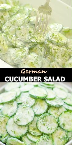 This refreshing German Cucumber Salad is just perfect for any BBQ party or potluck. This dish is made with crunchy cucumbers and a simple sour cream dressing. Fresh dill is a must in this recipe because it adds so much flavor!  FOLLOW Cooktoria for more deliciousness! If you try my recipes - share photos with me, I ALWAYS check!   #salad #cucumbers #potluck #summer #cooktoria German Cucumber Salad, Cucumber Dill Salad, Cucumber Recipes, Lunch Recipes, Salad Recipes, Vegetarian Recipes, Dinner Recipes, Cooking Recipes, Dill Recipes