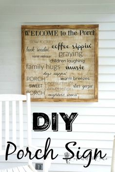 Beautiful showcase of 35 DIY Welcome Signs for front porch decoration that will fit to every porch for an instant grace and will be all no-sweat to create! Here most of these porch sign projects involve painting Do It Yourself Furniture, Do It Yourself Home, Wooden Diy, Wooden Signs, Diy Porch, Porch Ideas, Patio Ideas, Wal Art, Decoupage