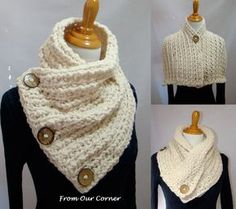 Boston Habor Style scarf 3 Coconut Button by My2ShayFromOurCorner