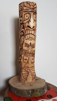 Items similar to Tiki Totem Pole wood carving from Silver Birch. Great for a candle stick. tall + base on Etsy