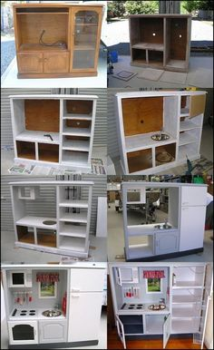 Wonderful DIY Play Kitchen from TV cabinets Repurposed Furniture Cabinets DIY kitchen Play Wonderful