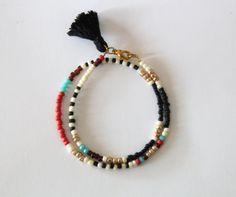 Friendship Double Bracelet  Black Ivory Red by NataliesWunderland