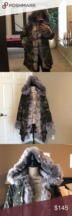 """Faux fur hooded camouflage long sleeve overcoat Mid length camouflage hooded coat!  Length 35"""" Bust 39"""" Sleeve 22.5"""" Coat is thick made for rainy and snowy days! New never worn! Jackets & Coats"""