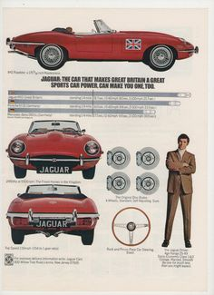 1970 Jaguar XKE Roadster Advertisement 70s Red Buyer Sports Car Import Convertible British Shop Garage Dealership Collector Wall Art Decor